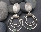 Pale blue sea green apatite statement earrings,  three large hanging hoops, hammered round sterling silver circles