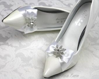 White Snowflake Shoe Clips, White Satin Bow Shoe Clip, White Winter Wedding Accessories Shoes Clip