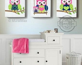OWLS Girls Nursery Decor Wall Art , Owl Nursery Art, Canvas Art, Girl Room Decor ,Owl Nursery Decor, Hot pink and Navy
