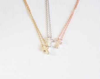 Tiny cross necklace, silver, gold, rose gold, elegant and dainty cross necklace