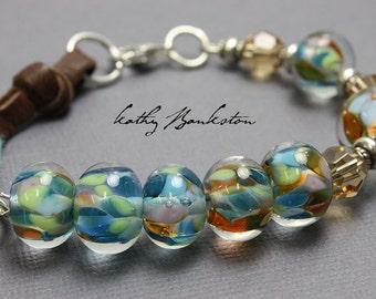 Blue Green Beaded Bracelet, Lampwork Bracelets, Blue Beaded Bracelet with Leather, Mixed Media Bracelets, Handmade Bracelets, Kathy Bankston