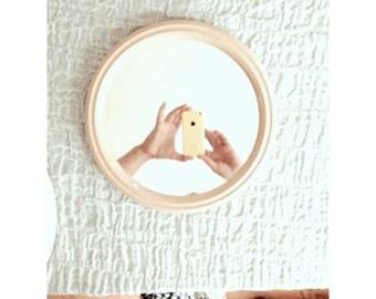 Beige 70s mirror- round mirror- beige home decor- 70s industrial- bathroom mirror- beauty assistant- simple design mirror-minimalistic beige