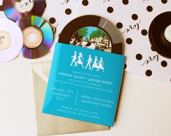 Abbey Road Vinyl CD Wedding Invitation, Beatles inspired wedding invitation