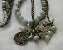 Aquamarine & jade beads w double strand brass chains necklace , beaded jewelry , coins/ I Ching / Yin/ Yang , layering necklace , lagenlook
