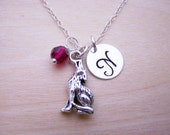 Wolf Charm Swarovski Birthstone Initial Personalized Sterling Silver Necklace / Gift for Her - Wolf Necklace - NC State Wolfpack