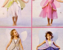 Children Girls Fairy Costume Tulle Skirt Variations with Wing Instructions McCall's M4887 Uncut Size 6 7 8 Factory Folds