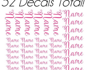 SPECIAL PRICE! Full Sheet of Single Name Vinyl Decals in 3 sizes