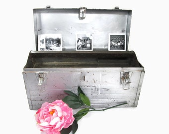 Craftsman Tool Box Silver Shabby Cottage Wedding Card Box