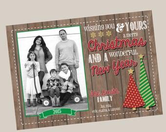 Photo Christmas Card | Wood Vintage Christmas Card | Photo Holiday Card | Digital Christmas Card {L25}