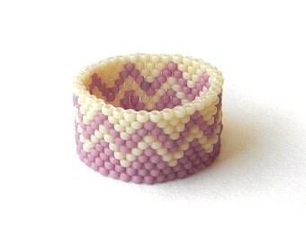 Beaded Ring in pale pink and cream tones - peyote ring - beadwork