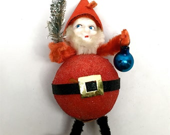 Vintage Santa Claus, Jolly Elf, Ornament, Christmas, Occupied Japan, 1940