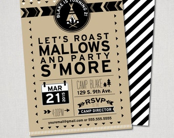Teepee Campfire Invitation in Mocha - Printed and Shipped