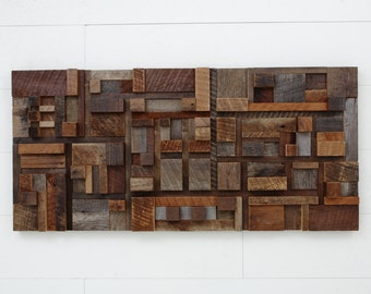 imed Wood wall art of geometric shapes, Made entirely of old reclaimed barnwood.  Large wall art,