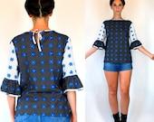 Vintage 70s Color Block Mod Floral Polka Dot Black, White + Blue Print Bell Sleeve Boho Tunic Top. Peasant Mini dress Shirt. Extra Small