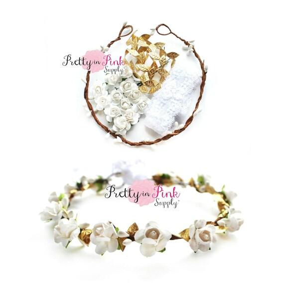 Grecian Princess White Floral Crown DIY Kit 138 Paper Flower