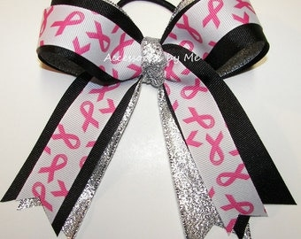 Bulk Price, Breast Cancer Bow, Cheap Sparkly Pink Cancer Ribbons, Wholesale Pink Cheerleader Bows, Pink Softball Volleyball Soccer Hair Bows