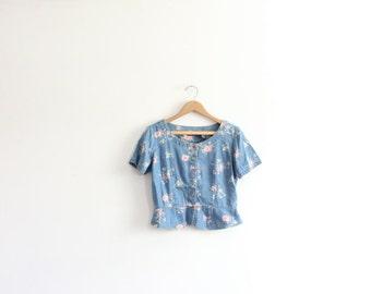Floral Denim Button Down 90s Shirt