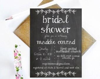 Printable Chalkboard Bridal Invitation