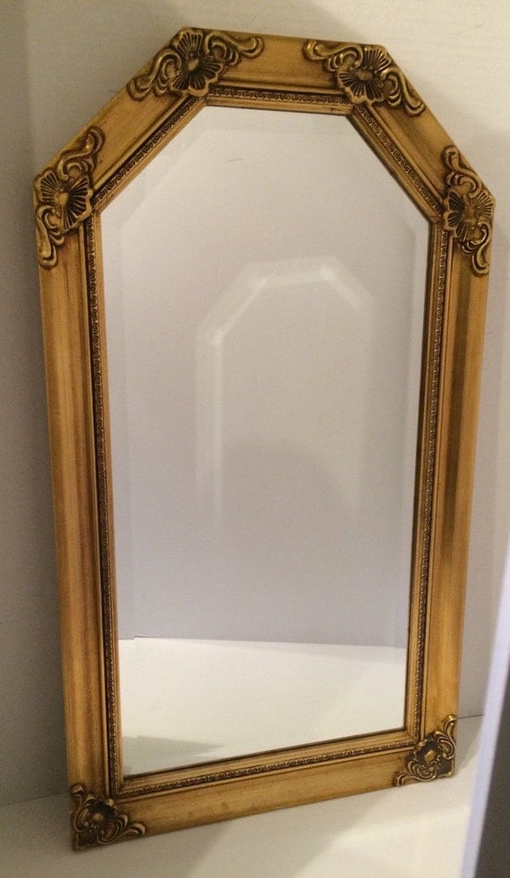 Elegant Wall Mirror Beveled Glass Rectangular With Upper