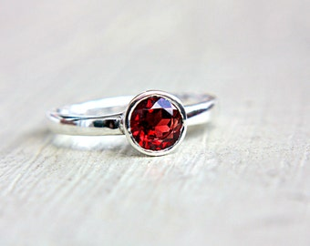 Red Garnet Ring Red Gem Engagement Ring Solitaire Ring Recycled Sterling Silver Made in Your Size Promise Ring Birthstone Jewelry 6mm Garnet