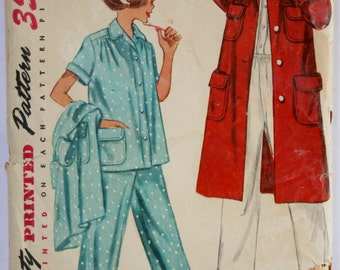 Pajama Sewing Pattern Vintage 1950s Women's/Teens Robe and Pajama Set Sewing Pattern Size 14 Bust 32 Simplicity 3392