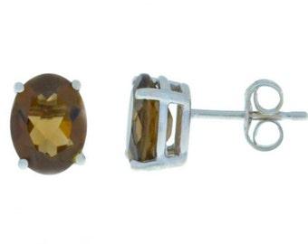 14Kt White Gold Natural Smoky Quartz Oval Stud Earrings