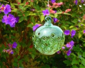 Handblown Openwork Green Glass Ornament
