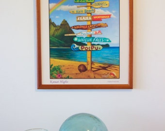 Kauai Highs - hawaiian travel signpost art painting poster