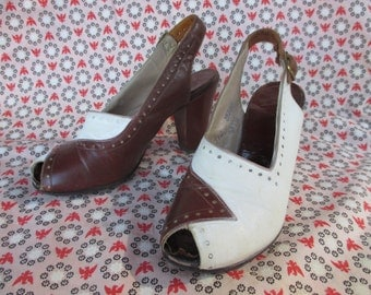 1930s 1940s Brown and White Sling Back Heels by Magic Stride, Gregory and Read WWII