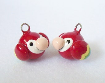 Cute Red Parrot Charm - Handcrafted Polymer Clay Charm - Charm for Charm Bracelets, Earrings, Cell Phone Charm