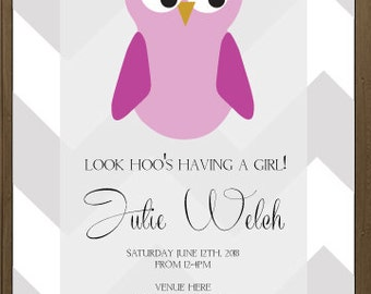 It's a girl baby shower invitation, digital, printable file 5 x 7, 4 x 6, chevron owl theme, pink purple