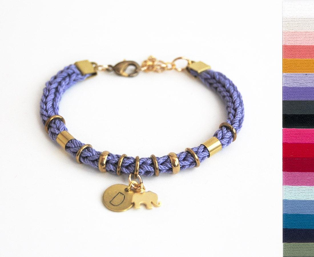 personalized bracelet with elephant charm initial bracelet