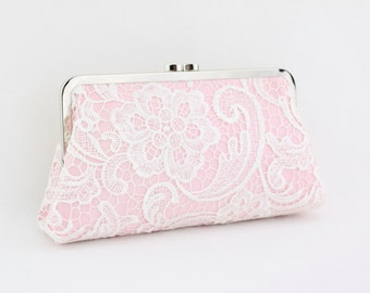 White Lace on Blush Pink Bridal Clutch / Ivory Lace Wedding Clutch / Pink Bridal Purse / Bridesmaid Clutch