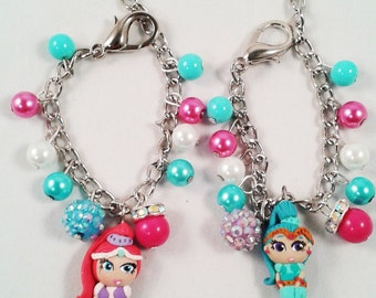 Shimmer and Shine genies inspired  charm bracelet