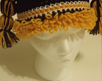 Steelers inspired cabbage patch crochet hat