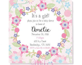 Baby shower card girl- INSTANT DOWNLOAD
