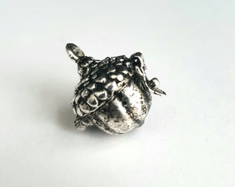 Acorn Locket, Silver Toned Prayer Box Charm - 1 piece