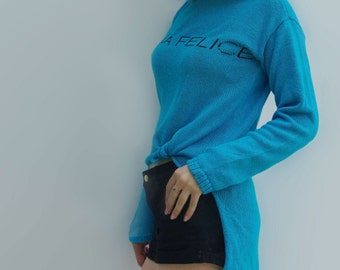 NEW Turquoise Knotted Front Long Back Slogan Sweater Merino