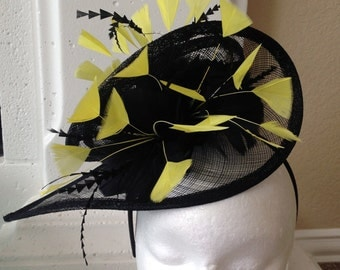Yellow and black feather fascinator hat for Kentucky Derby races or wedding