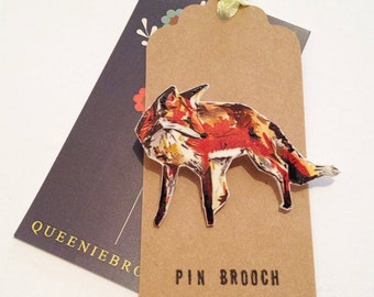 Handmade Fox pin brooch