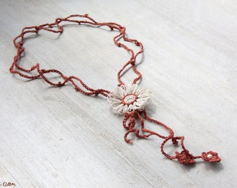 Flower Y necklace | made with linen fiber | white and auburn | crocheted