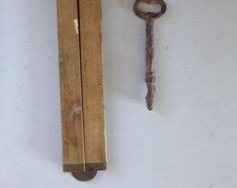 Wooden folding ruler vintage rustic tool