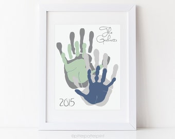 Personalized Handprint Family Portrait Art, Father's Day Gift for Dad, Custom Home Decor, Your Actual Hands Prints, 8x10 UNFRAMED