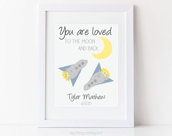 I Love You To the Moon & Back Nursery Art Print, Baby Footprint Rocket Ship, Space Wall Decor, Personalized with your Child's Feet UNFRAMED
