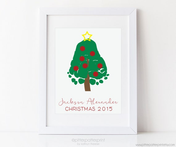 Baby Christmas Trees: Baby's First Christmas Art Print Footprint By