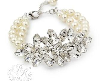 Wedding Bracelet Swarovski Pearl Rhinestone Bracelet Bridal Bracelet Wedding Jewelry Wedding Accessory Bridesmaid Bracelet Daisy
