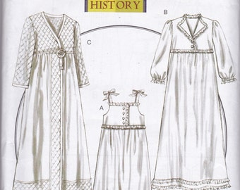 B5544 Butterick Nightgown, Robe, and Slippers Sewing Pattern Sizes XS-S-M (4-14) Rated Average Historical