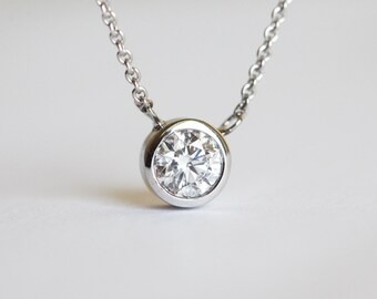 0.33 carat Solitaire Diamond Necklace, Bezel Diamond Necklace,