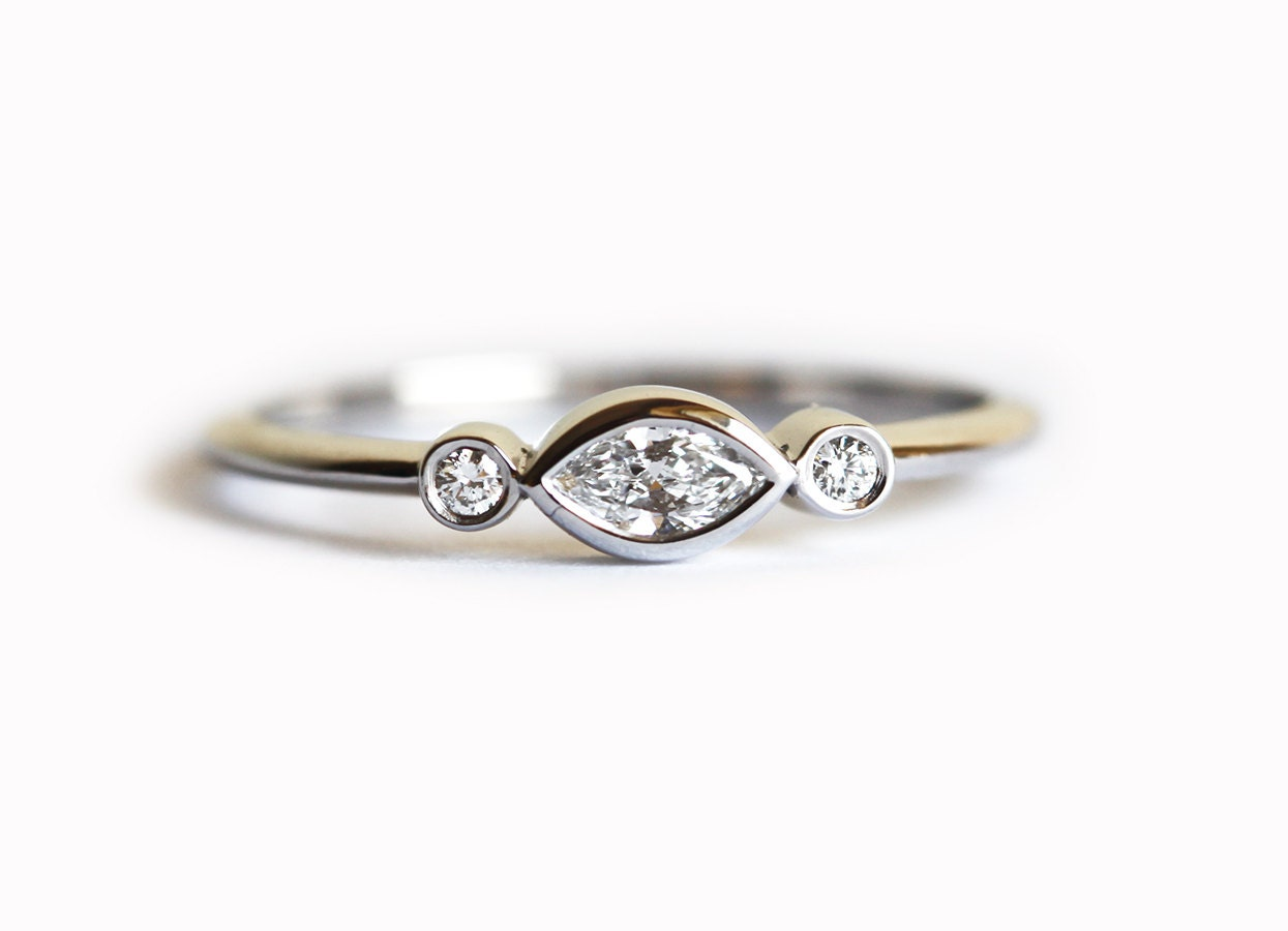 White Gold Engagement Ring Three Diamond Ring Three