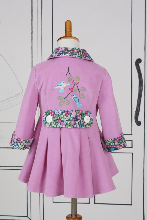 Girls Size 4 Coat Jacket Embroidered Blue Birds Bright Orchid Pink Corduroy Fall Autumn Spring Colors Back to School Ready To Ship